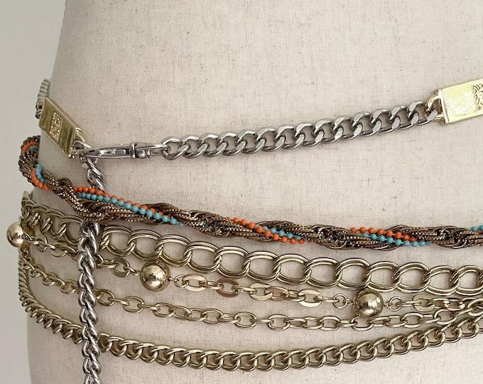 Pick One! 80s Gold Chain Belt Vintage Belts Adjustable Length Chain Link Rock and Roll Waist Belt Skinny Metallic Belt
