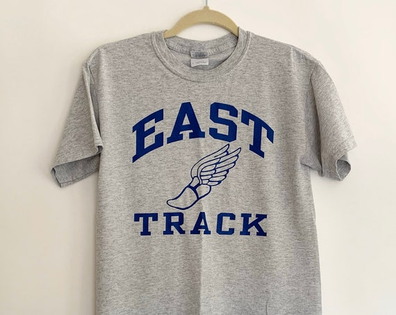 Vintage Track Athletic Shirt Grey Gray 50 50 Cotton Poly Blend High School East Track and Field T Shirt Tee Size S