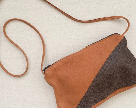 Handmade Soft Deerskin Purse Two Tone Embossed Brown Leather Crossbody Bag Simple Minimalist Zip Top Made by Raven Works Studio