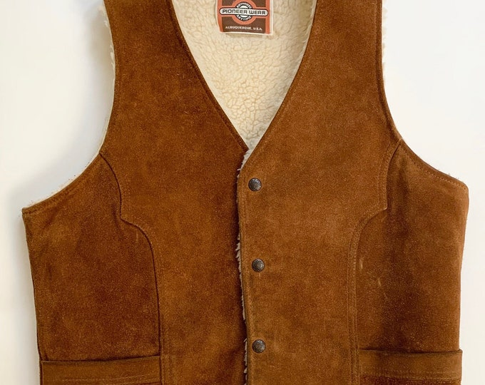 Western Suede Leather Vest Cognac Brown Leather Sherpa Lining Vintage Pioneer Wear Albuquerque NM Mens Vests Outerwear Size M