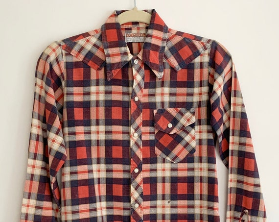 Boys Western Flannel Shirt Vintage Flannel by Sand Point Pearl Snap Shirt Red White Blue Plaid Distressed Cuffs Size 8 10 M L