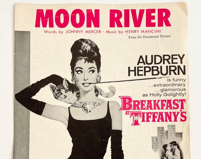 Moon River Sheet Music Vintage 60s 1961 Breakfast At Tiffany's Movie Memorabilia Poster Wall Art Audrey Hepburn Johnny Mercer Henry Mancini