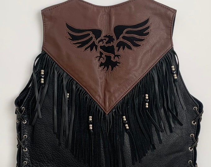 Women's Leather Biker Vest Vintage Fox Creek Leather Co Independence VA Made in USA Buffalo Nickel Snap Brown Black Motorcyle Western Fringe