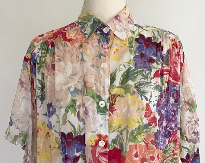 80s Express Compagnie Internationale Lightweight Floral Print Top Button Down Shirt Soft All Cotton Made in India