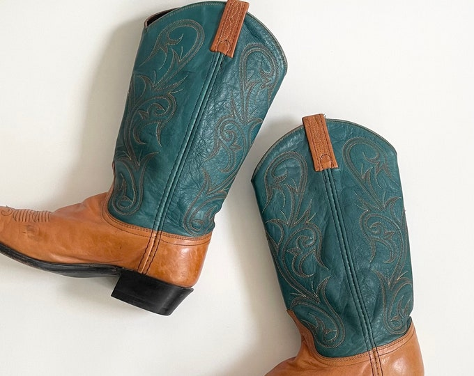 Turquoise Leather Cowboy Boots Vintage Dan Post Western Boots Tan Brown Turquoise Leather Stitched Detailing Womens 8 8.5 Narrow Fit