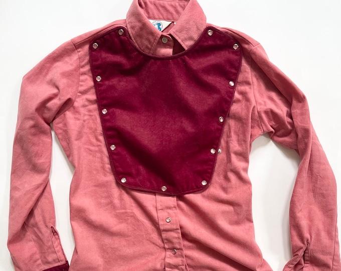 Western Rodeo Snap Shirt Bib Front Two Tone Pink Burgundy Vintage 70s Miss Rodeo America Women's Shirt Size XXS XS