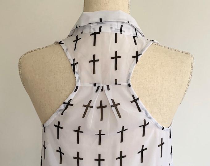 Cross Print Sleeveless Shirt Sheer White Black Vintage Grunge Style Racerback Button Front Women's Size XS