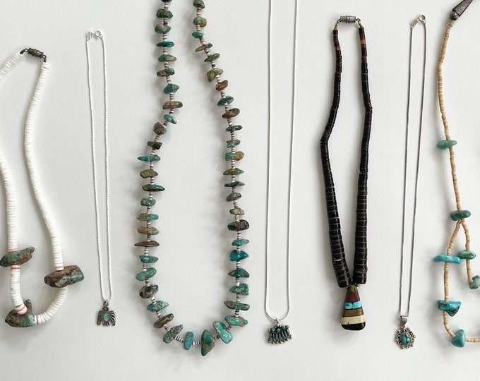 Native American Turquoise Necklace Heishi Handmade Artisan Sterling Silver Turquoise Nugget Shell Thunderbird Navajo Zuni Layering Stack