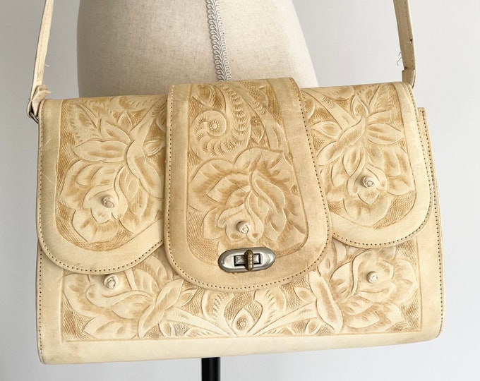 Cream Tooled Leather Shoulder Bag Purse Handbag Vintage 70s Mexico Hand Tooled Floral Design Divided Interior Zip Top Large Size