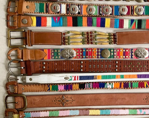 Boho Ethnic Embellished Belt Leather Belts Vintage Belts Beaded Woven Textile Inlay Western Guatemalan Concho Studded