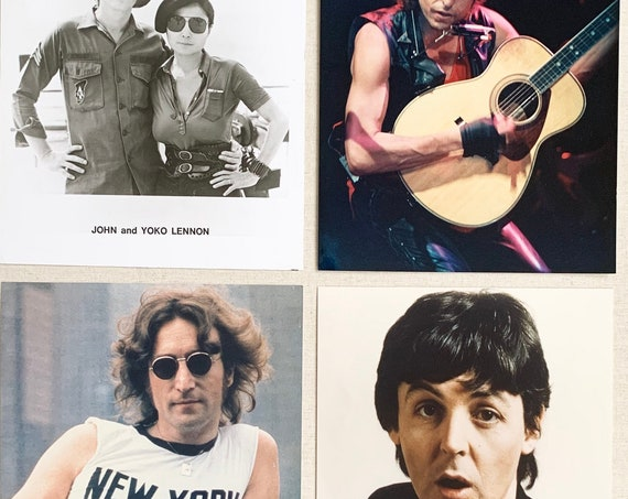 "Vintage Music Photos John Lennon New York Bob Dylan Paul McCartney Press Kit Promo Black and White Full Color Photography 8"" x 10"""