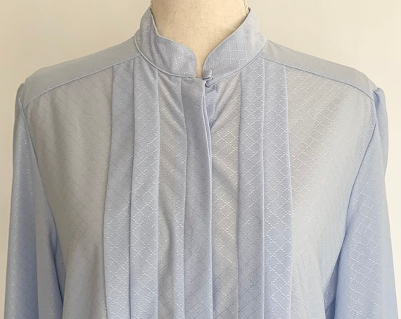 80s Silky Blouse Top Vintage Objectives Purchased at Lazarus Department Store Pale Icy Lilac Blue High Neckline Women's Shirts XS S