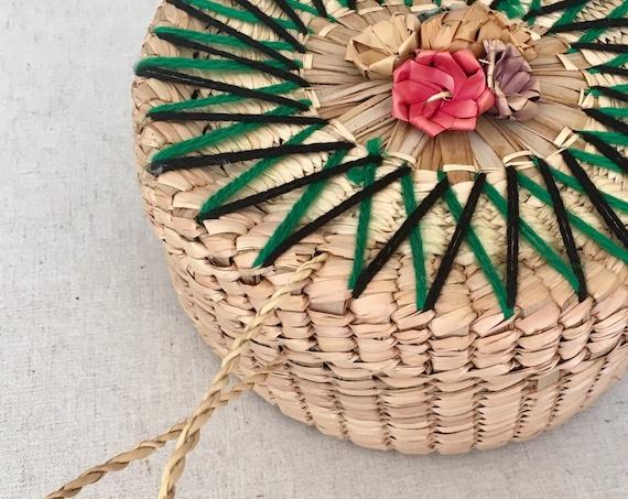 Mexican Straw Tortilla Basket Bread Basket Vintage 70s Home Kitchen Dining Decor Floral Flower Embroidery Hippie Folk