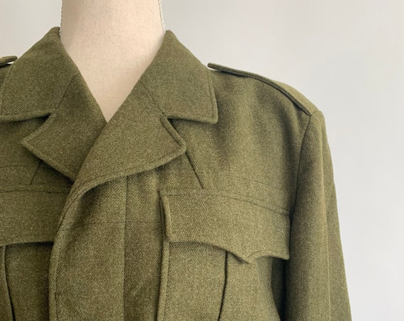 Olive Wool Military Jacket Coat Cropped Length Khaki Green Brown Vintage Marked Size 38 Mens Women's Unisex