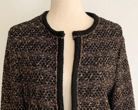 Collarless Boucle Knit Jacket Blazer Vintage Butte WPL 9442 Black Beige Gold Lurex Weave Classic Style Size M