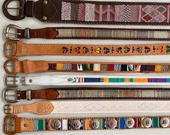 Boho Ethnic Embellished Belt Leather Belts Vintage Belts Beaded Woven Textile Inlay Western Guatemala Brighton