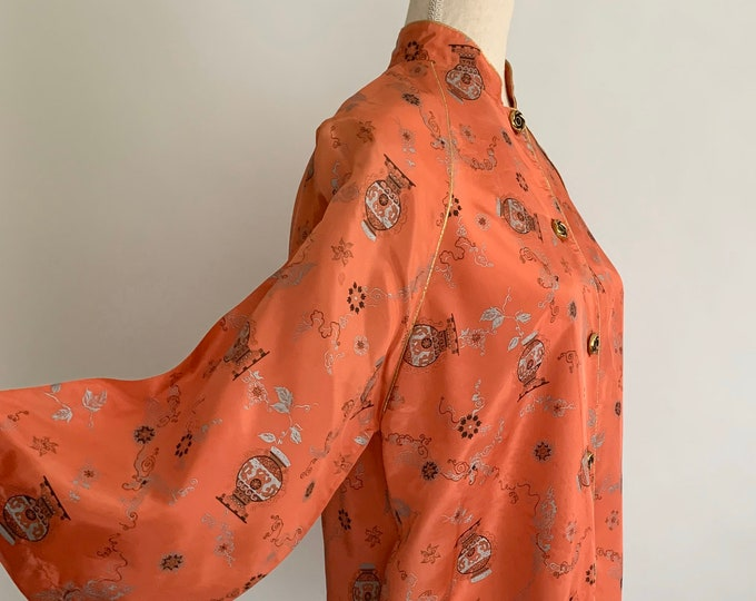 Silky Asian Pajama Top Jacket Kimono Vintage Chinese Cheongsam Pink Peach Satin Button Front Gold Piping Women's Tops Size XS S