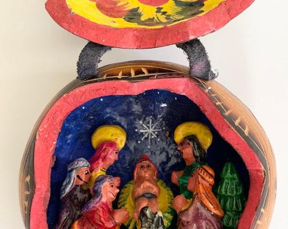 Peruvian Nativity Retablo Diorama Inside Carved Gourd Peru Miniature Folk Art Baby Jesus Religious Vintage Christmas Decor