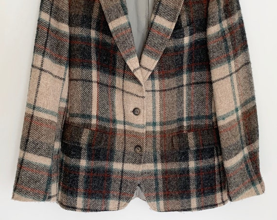 Wool Plaid Jacket Blazer Vintage 70s Lands End Charter Collection  Beige Hunter Green Burnt Orange Weave Womens Size S