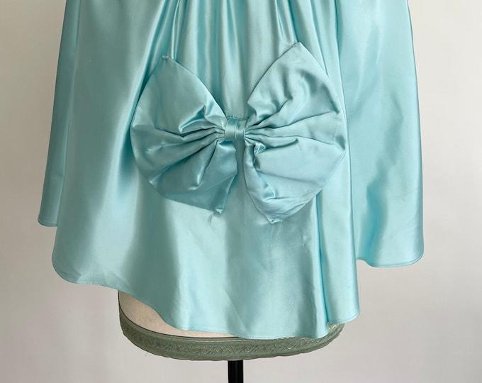 Aqua Satin Bed Jacket Vintage 30s 40s Lingerie Sleepwear High Tie Neck Bow Detail at Back XXS XS