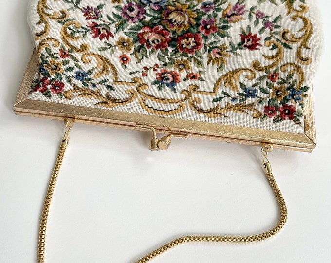 Floral Needlepoint Purse Victorian Style Convertible Clutch Gold Tone Frame Strap Made in Hong Kong