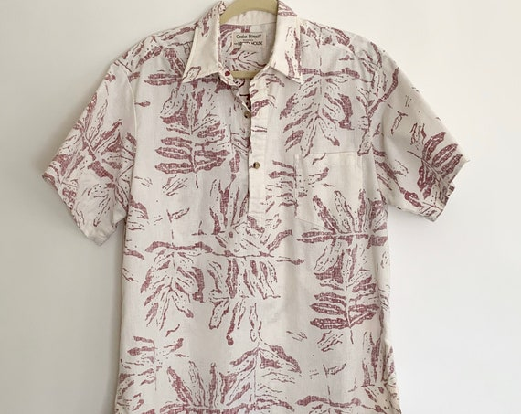 Hawaiian Shirt Aloha Tiki Vintage Cooke Street for Liberty House Faded Pink Red White Tropical Floral Leaf Print Mens Size L