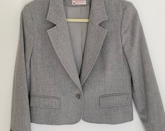 Pendleton Gray Wool Jacket Blazer Vintage 80s Virgin Wool Made in USA Slightly Cropped Fit Womens XS P Petite