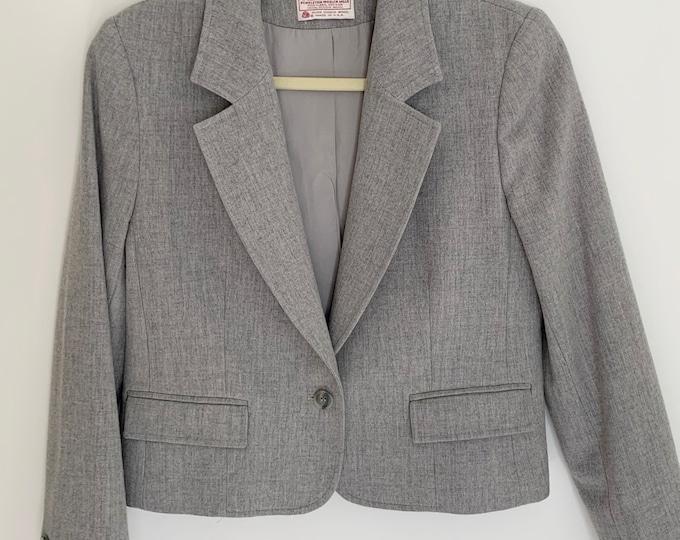 Pendleton Gray Wool Jacket Blazer Vintage 80s Virgin Wool Made in USA Slightly Cropped Fit Womens XS P Petite