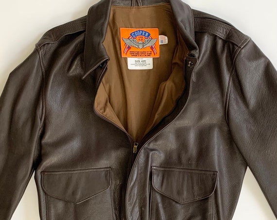 Cooper Leather Flight Jacket Military Airforce Bomber Style Vintage Distressed Dark Brown Goat Leather Marked 42R Fits Mens M L