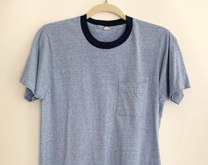 70s Heather Blue Tshirt Pocket Tee Vintage Fruit of the Loom Mens Shirts Soft 50 50 Blend Navy Blue Collar  M