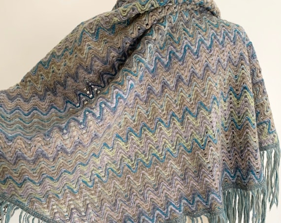 Missoni Italy Shawl Scarf Wrap Vintage Italian Foulard Zig Zag Knit Fringe Blue Gray Beige Made in Italy Mohair Blend
