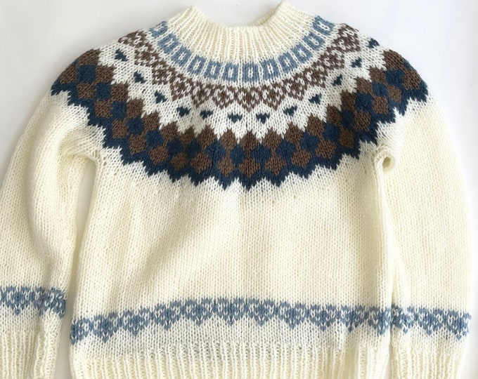 70s Fair Isle Sweater Vintage Natural White Blue Brown Mock Neck Ski Sweater Made in Korea by McGregor Sportswear S M