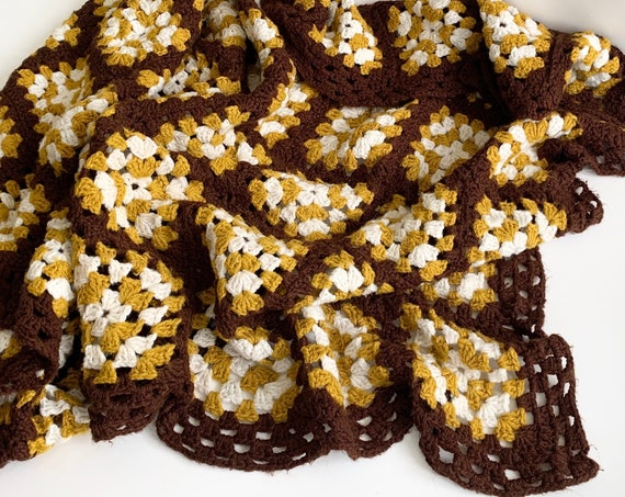 Hand Crochet Throw Blanket Vintage Handmade Hand Knit Brown Ochre White Patchwork Square Design Rectangle Shape