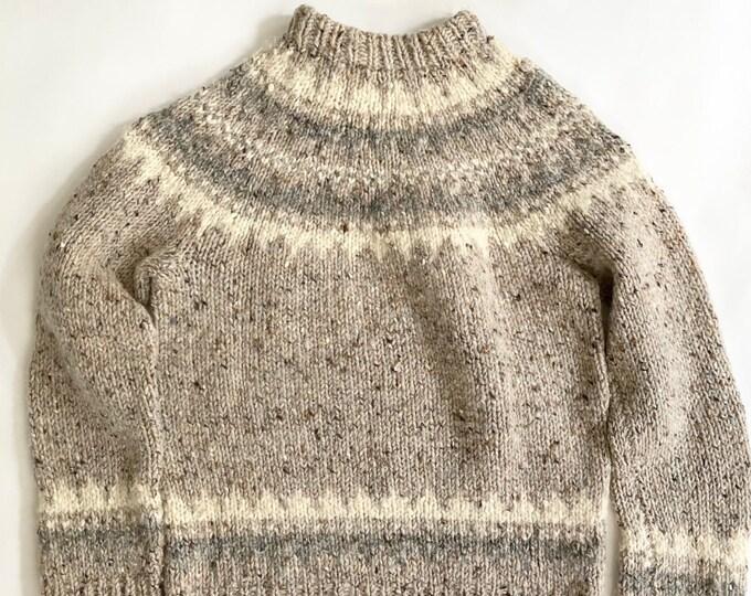 Handknit Irish Wool Sweater Oatmeal Gray Natural White Made in Ireland by Gaeltarra Size XXS XS S