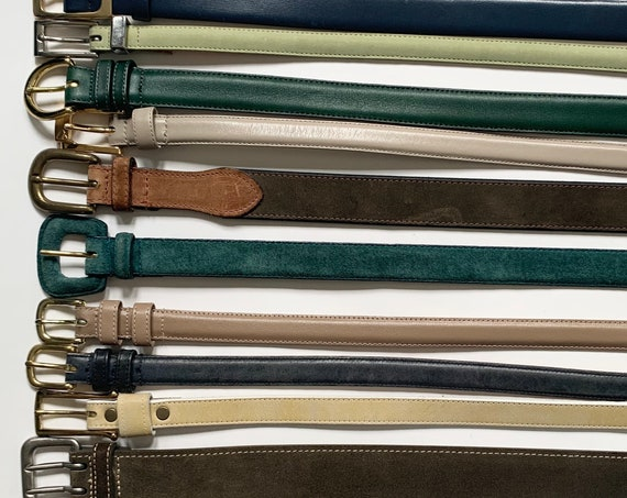 Plain Colored Leather Belt Vintage Women's Belts Minimalist Simple Classic Gold Brass Silver Buckle Skinny Belt Navy Blue Hunter Green Beige