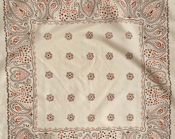 Beige Brown Orange Bandana Vintage 70s Fast Color Very Soft Cotton Poly Rare Color Way
