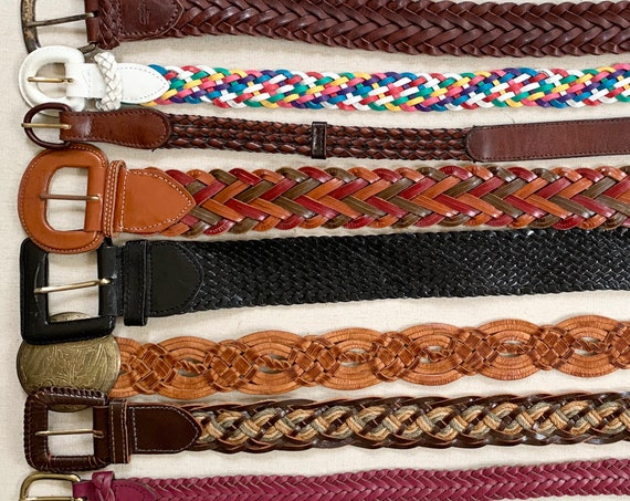 Braided Leather Belt Belts Vintage Leather Goods Woven Basketweave Woven Brown White Tan Black Mens Women's Belts