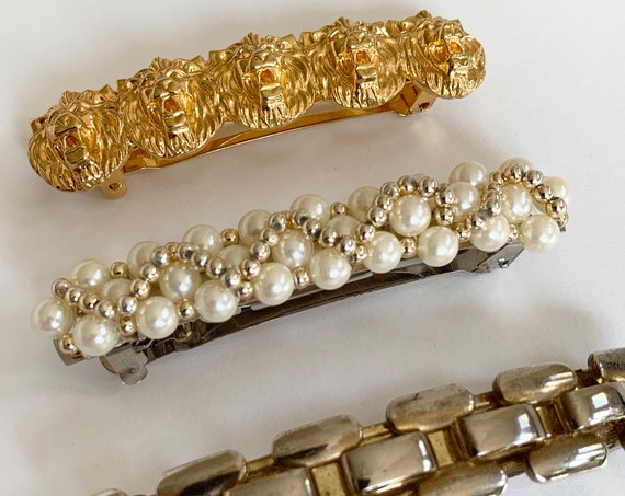 Vintage French Hair Barrette Clips Vintage 80s Hair Accessories Gold Tone Lion Pearls Link Lot of 3 Barrettes Made in France