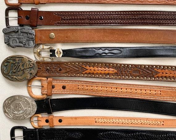 Western Leather Belt Belts Vintage Belts Western Details Buckle Tips Brown Black Cowboy Leegin Justin Mens Women's Leather Goods