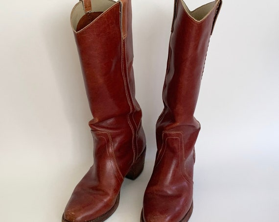 70s Burgundy Leather Boots Stacked Heel Cowboy Cowgirl Vintage Distressed Brick Red Oxblood Leather Women's Size 8.5
