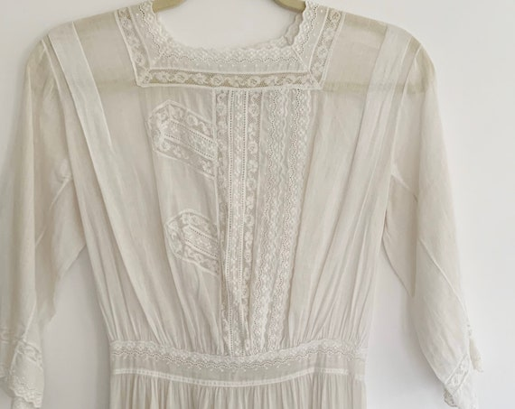 Antique Victorian Cotton Dress Vintage Sheer Lightweight Delicate White Lace Peasant Hippie Boho Bohemian Wedding XXS