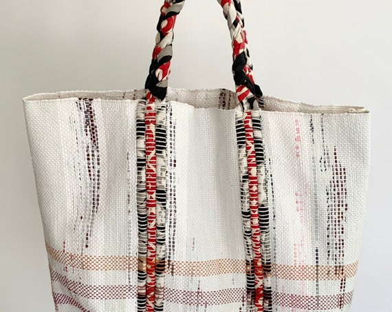 Woven Textile Tote Bag Market Bag Vintage Handmade Natural White Red Black Cotton Braided Straps Excellent Condition