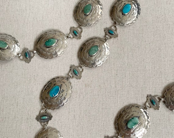 Sterling Silver Turquoise Concho Belt Vintage Native American Navajo Stamped Conchas Link Chain Southwest Western Women's Belts