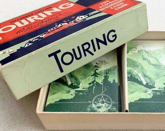 Touring Card Game Vintage 1937 1947 Parker Brothers Retro Road Trip Games Complete Full Set with Instructions