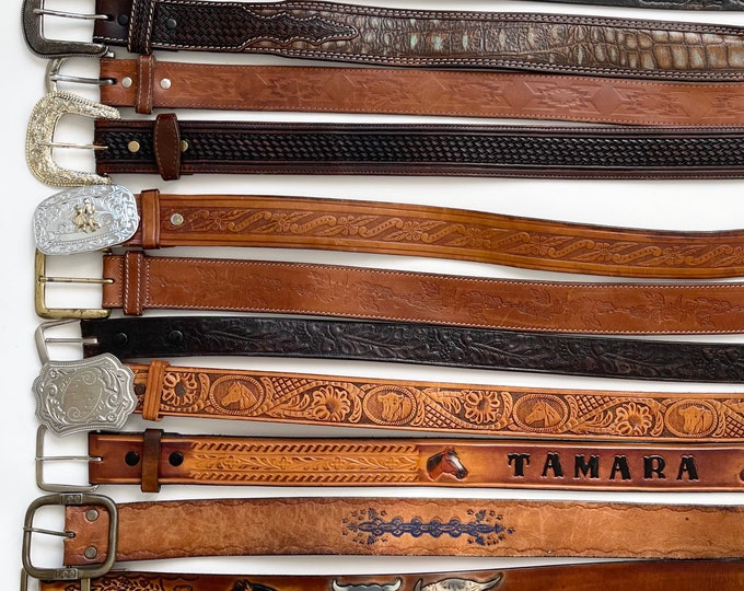 Western Tooled Leather Belt Vintage Rugged Distressed Brown Black Leather Floral Horse Steer Tooled Leather Mens Womens Cowboy Belts