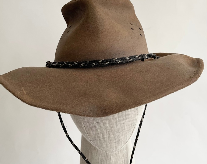 Brown Leather Cowboy Hat Vintage Minnetonka Made in USA Western Outback Distressed Worn Brown Leather Chin Strap