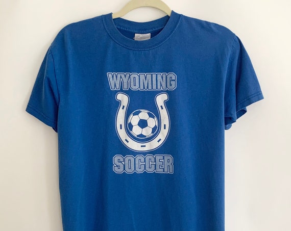 Blue Wyoming Soccer T-shirt Shirt Tee 50 50 Cotton Poly Blend High School Athletic Size XS S