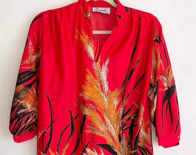 70s Red Tunic Top Teddy of California Vintage Retro Black Gold Brushstroke Plant Flower Botanical Print Mrs Roper Hawaiian XS