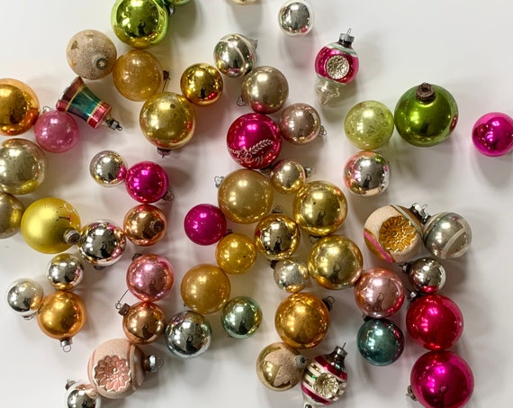 Vintage Christmas Ornament Lot of 55 Glass Bulbs Balls Indent UFO Striped Glitter Metal Tops USA Shiny Brite Silver Gold Pink Chartreuse