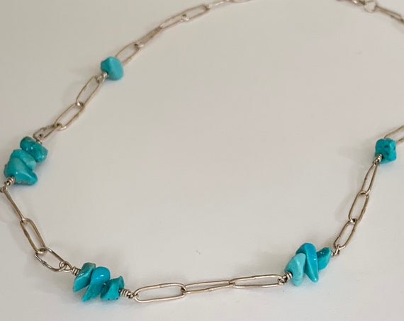 """Turquoise Nugget Necklace Delicate Sterling Silver Paperclip Chain Vintage Native American Jewelry 16.75"""""""